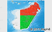 Flag Panoramic Map of Madagascar, physical outside