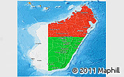 Flag Panoramic Map of Madagascar, political shades outside