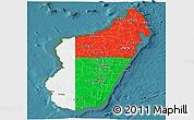 Flag Panoramic Map of Madagascar, satellite outside
