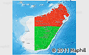 Flag Panoramic Map of Madagascar, shaded relief outside