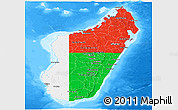 Flag Panoramic Map of Madagascar, single color outside, bathymetry sea