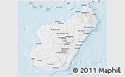 Gray Panoramic Map of Madagascar, single color outside