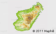 Physical Panoramic Map of Madagascar, cropped outside