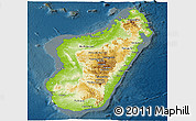 Physical Panoramic Map of Madagascar, darken