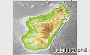 Physical Panoramic Map of Madagascar, desaturated