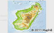 Physical Panoramic Map of Madagascar, lighten