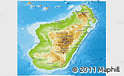 Physical Panoramic Map of Madagascar, political shades outside, shaded relief sea