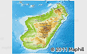Physical Panoramic Map of Madagascar, semi-desaturated, land only