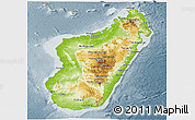 Physical Panoramic Map of Madagascar, semi-desaturated