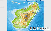 Physical Panoramic Map of Madagascar, shaded relief outside