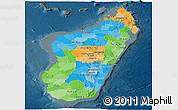 Political Panoramic Map of Madagascar, darken