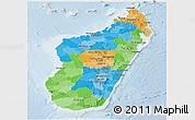 Political Panoramic Map of Madagascar, lighten