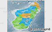 Political Panoramic Map of Madagascar, semi-desaturated