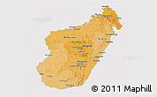Political Shades Panoramic Map of Madagascar, cropped outside