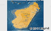 Political Shades Panoramic Map of Madagascar, darken