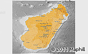 Political Shades Panoramic Map of Madagascar, desaturated