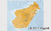 Political Shades Panoramic Map of Madagascar, lighten
