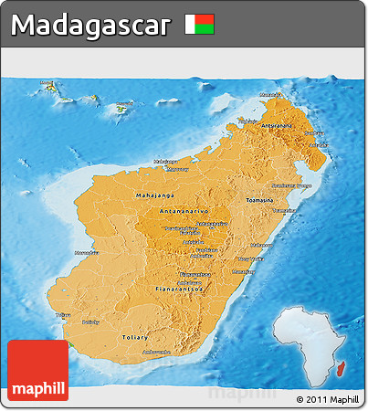 Political Shades Panoramic Map of Madagascar, physical outside
