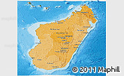 Political Shades Panoramic Map of Madagascar, satellite outside, bathymetry sea