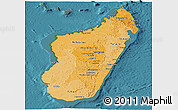 Political Shades Panoramic Map of Madagascar, satellite outside