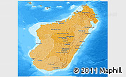 Political Shades Panoramic Map of Madagascar, semi-desaturated, land only