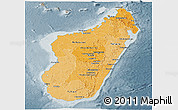 Political Shades Panoramic Map of Madagascar, semi-desaturated