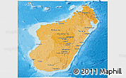 Political Shades Panoramic Map of Madagascar, shaded relief outside, bathymetry sea