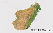 Satellite Panoramic Map of Madagascar, cropped outside