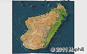Satellite Panoramic Map of Madagascar, darken