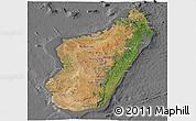 Satellite Panoramic Map of Madagascar, desaturated