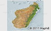 Satellite Panoramic Map of Madagascar, lighten
