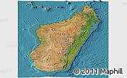 Satellite Panoramic Map of Madagascar, physical outside, satellite sea