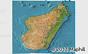 Satellite Panoramic Map of Madagascar, political outside, satellite sea