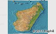 Satellite Panoramic Map of Madagascar, political shades outside, satellite sea