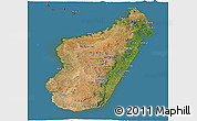 Satellite Panoramic Map of Madagascar, semi-desaturated, land only