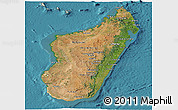 Satellite Panoramic Map of Madagascar, shaded relief outside, satellite sea