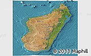 Satellite Panoramic Map of Madagascar, single color outside