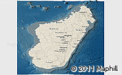Shaded Relief Panoramic Map of Madagascar, darken
