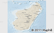 Shaded Relief Panoramic Map of Madagascar, lighten