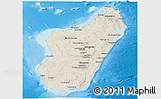 Shaded Relief Panoramic Map of Madagascar, single color outside