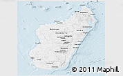 Silver Style Panoramic Map of Madagascar, single color outside