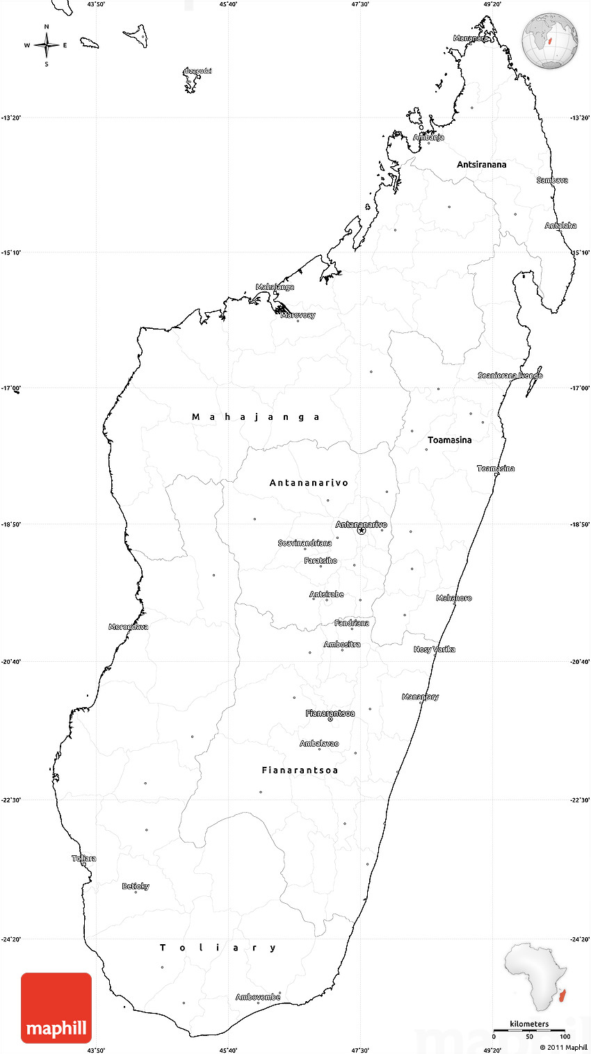 Blank Simple Map of Madagascar