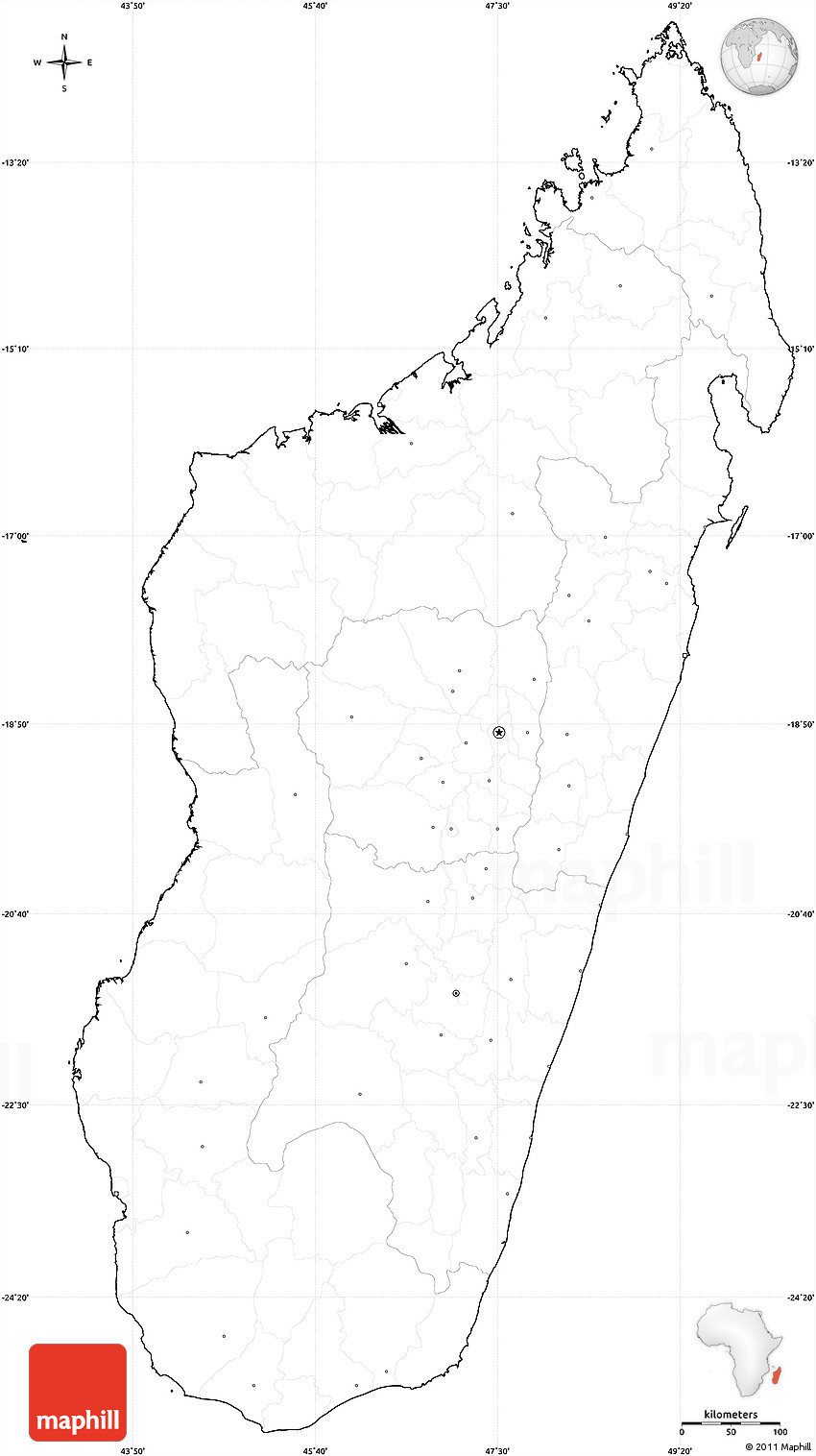 Blank Simple Map of Madagascar, cropped outside, no labels