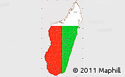 Flag Simple Map of Madagascar, flag aligned to the middle