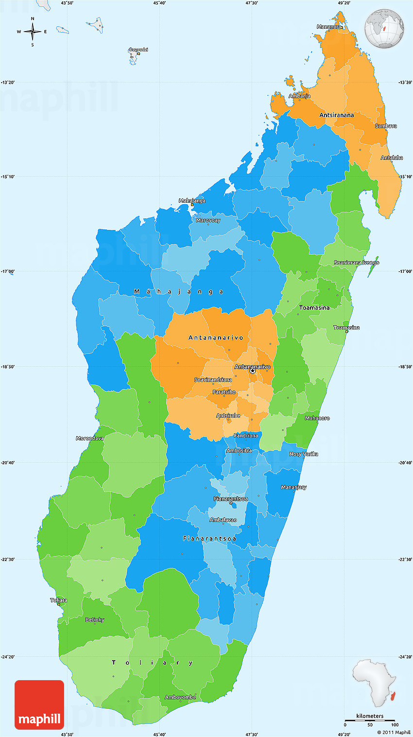 Political Simple Map of Madagascar single color outside borders and labels