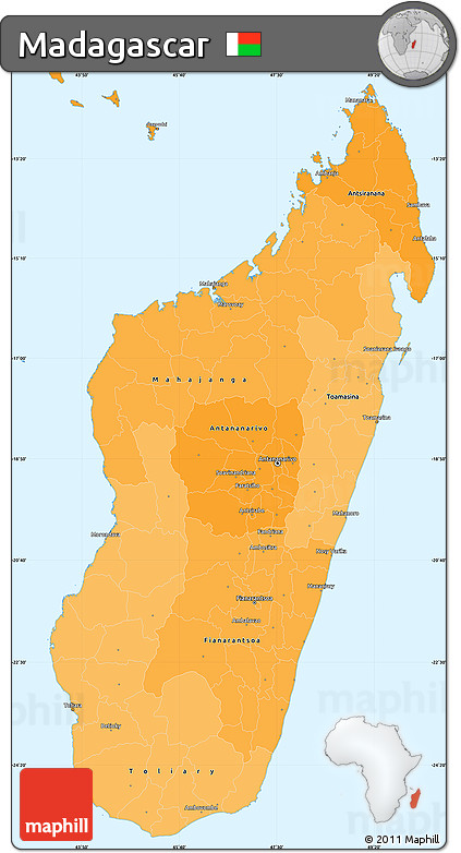 Political Shades Simple Map of Madagascar