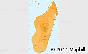Political Shades Simple Map of Madagascar, political outside