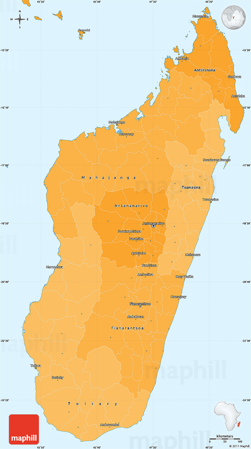 Political Shades Simple Map Of Madagascar - Madagascar map outline