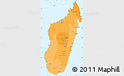Political Shades Simple Map of Madagascar, single color outside, borders and labels
