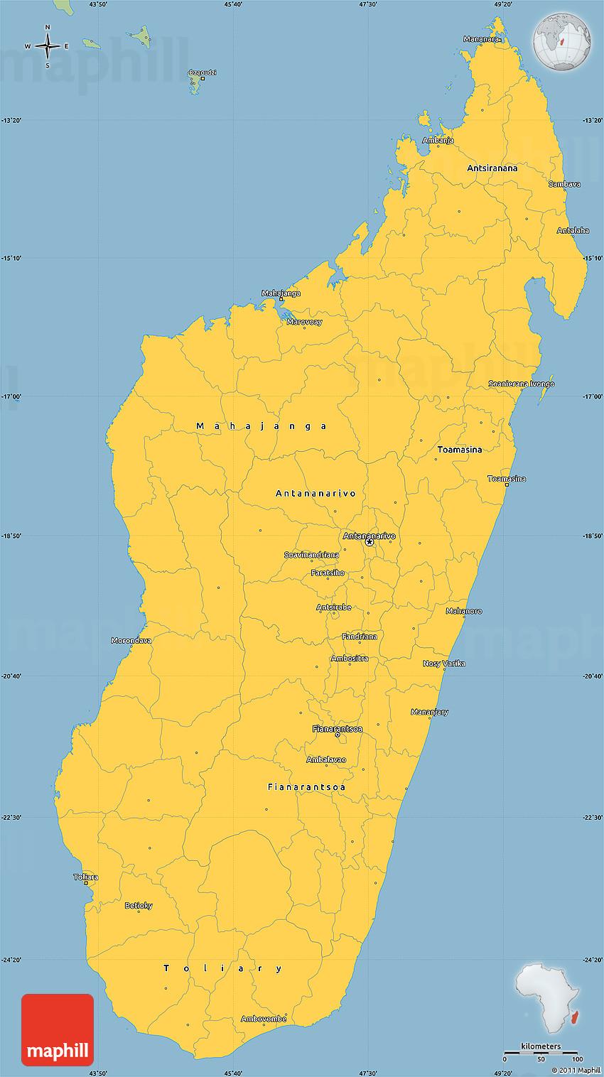Savanna Style Simple Map of Madagascar